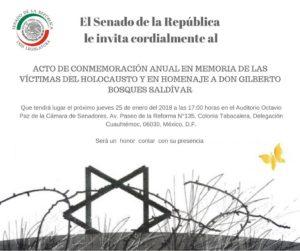 EL SENADO DE LA REPÚBLICA LE INVITA CORDIALMENTE - Al acto de Conmemoración anual de las vítcimas del Holocausto @ Auditorio Octavio Paz de la Cámara de Senadores | Ciudad de México | Ciudad de México | México