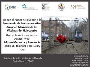 CEREMONIA DE CONMEMORACIÓN ANUAL EN MEMORIA DE LAS VÍCTIMAS DEL HOLOCAUSTO @ Museo Memoria y Tolerancia  | Ciudad de México | Ciudad de México | México