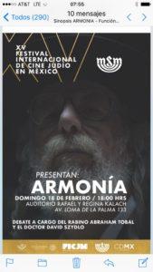 XVFESTIVAL INTERNACIONAL DE CINE JUDÍO EN MÉXICO: presenta Armonía @ AUDITORIO RAFAEL Y REGINA KALACH  | Ciudad de México | Ciudad de México | México
