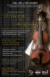 OSE,ORT Y YAD VASHEM TE INVITAN AL CONCIERTO-Homenaje a la música silenciada @ AUDITORIO RAFAEL Y REGINA KALACH    Ciudad de México   Ciudad de México   México